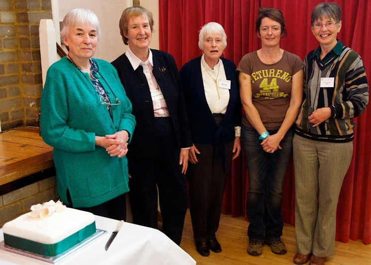 Previous Group Chairpeople including (left to right) Juliet Robinson, Yvonne Mansergh, Madeline McCormack, Annie Godfrey and current Chair Irene Cowan.